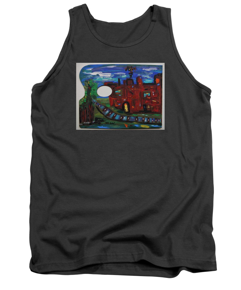 Steel Tank Top featuring the painting Steel Mill Nocturne by Mary Carol Williams