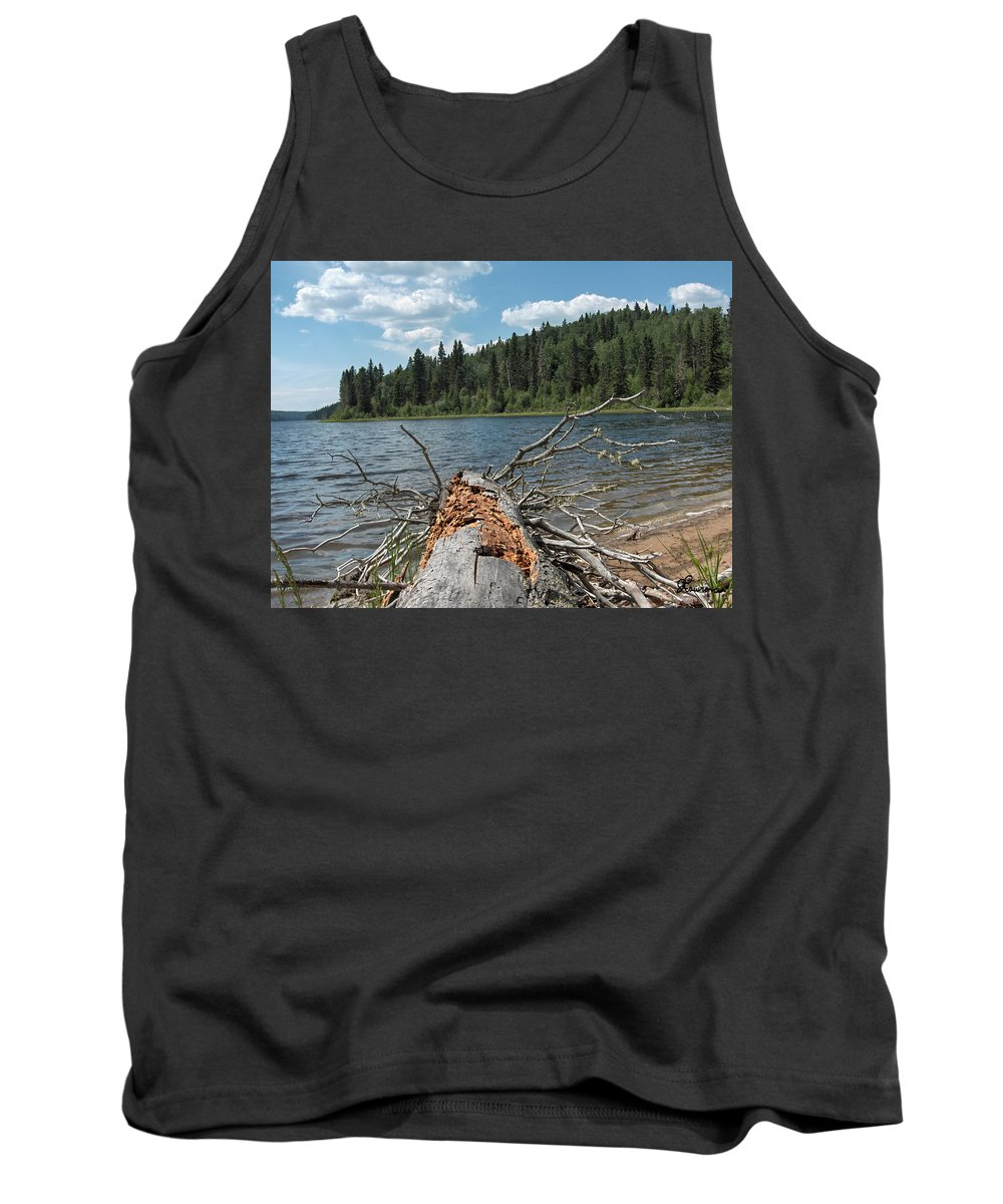 Water Lake Scenery Trees Wood Forest Driftwood Branches Shore Beach Tank Top featuring the photograph Steepbanks Lake The Fallen by Andrea Lawrence