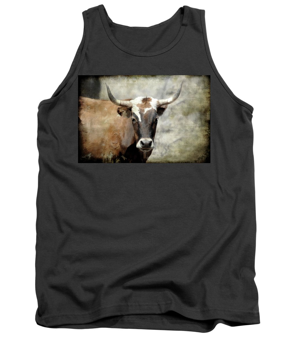 Steer Tank Top featuring the photograph Steer Bull by Athena Mckinzie
