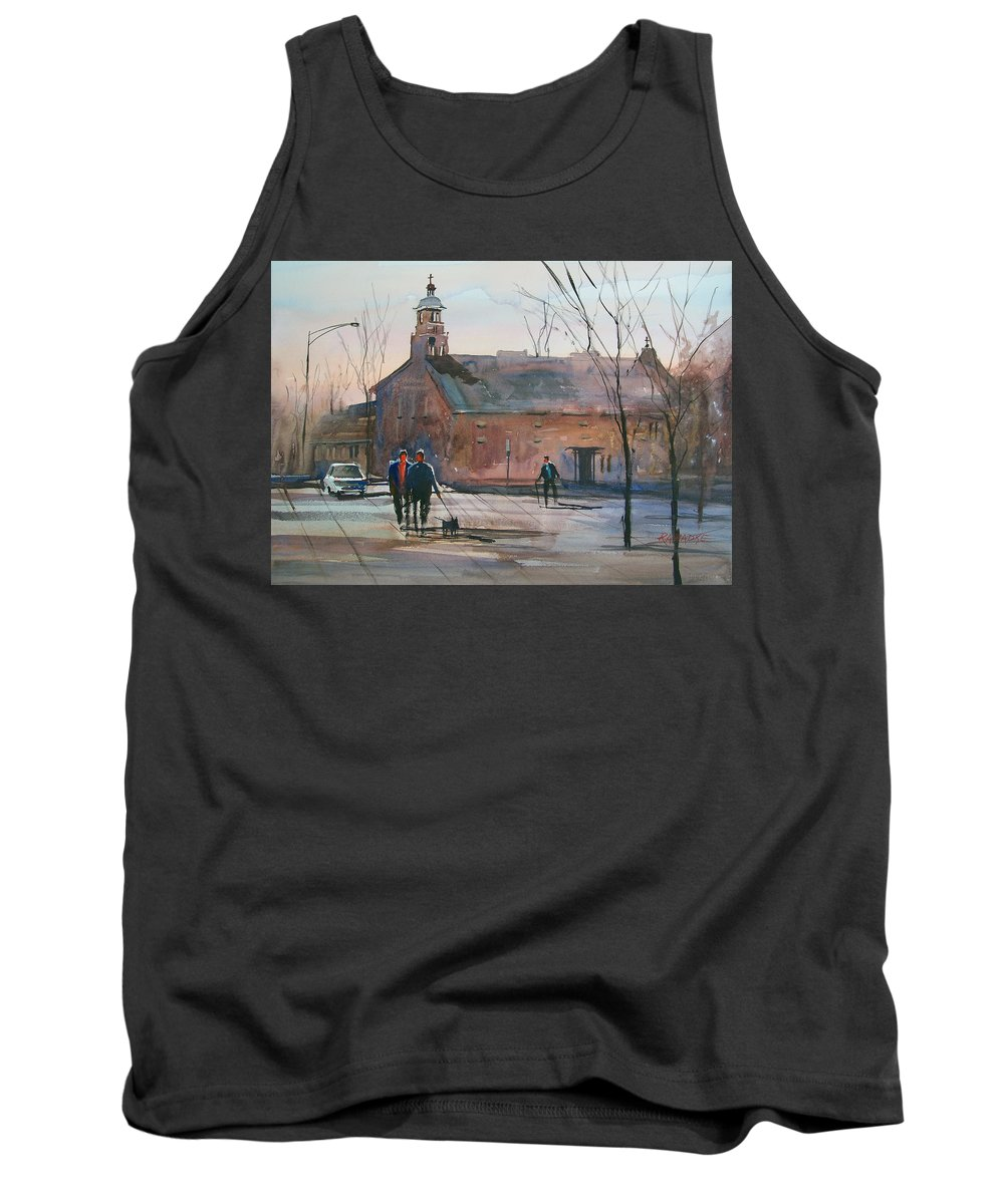 Street Scene Tank Top featuring the painting Steven's Point Church by Ryan Radke