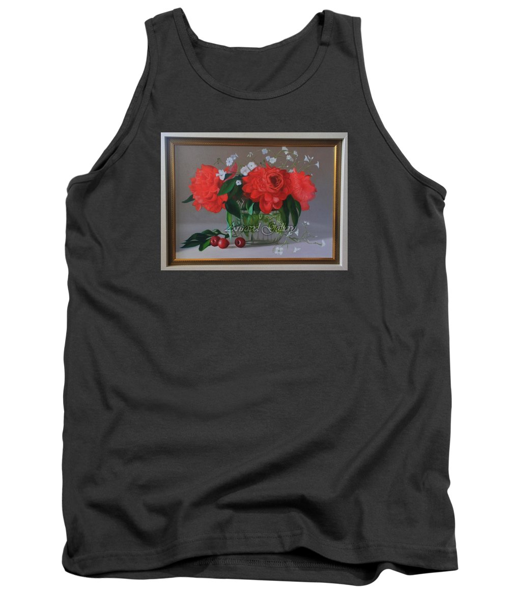 Red Rose Tank Top featuring the painting Still Life 6,red Rose by Setya Wijoyo