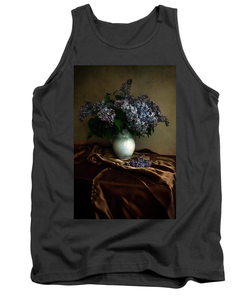 Flower Tank Top featuring the photograph Still Life With Bouqet Of Fresh Lilac by Jaroslaw Blaminsky