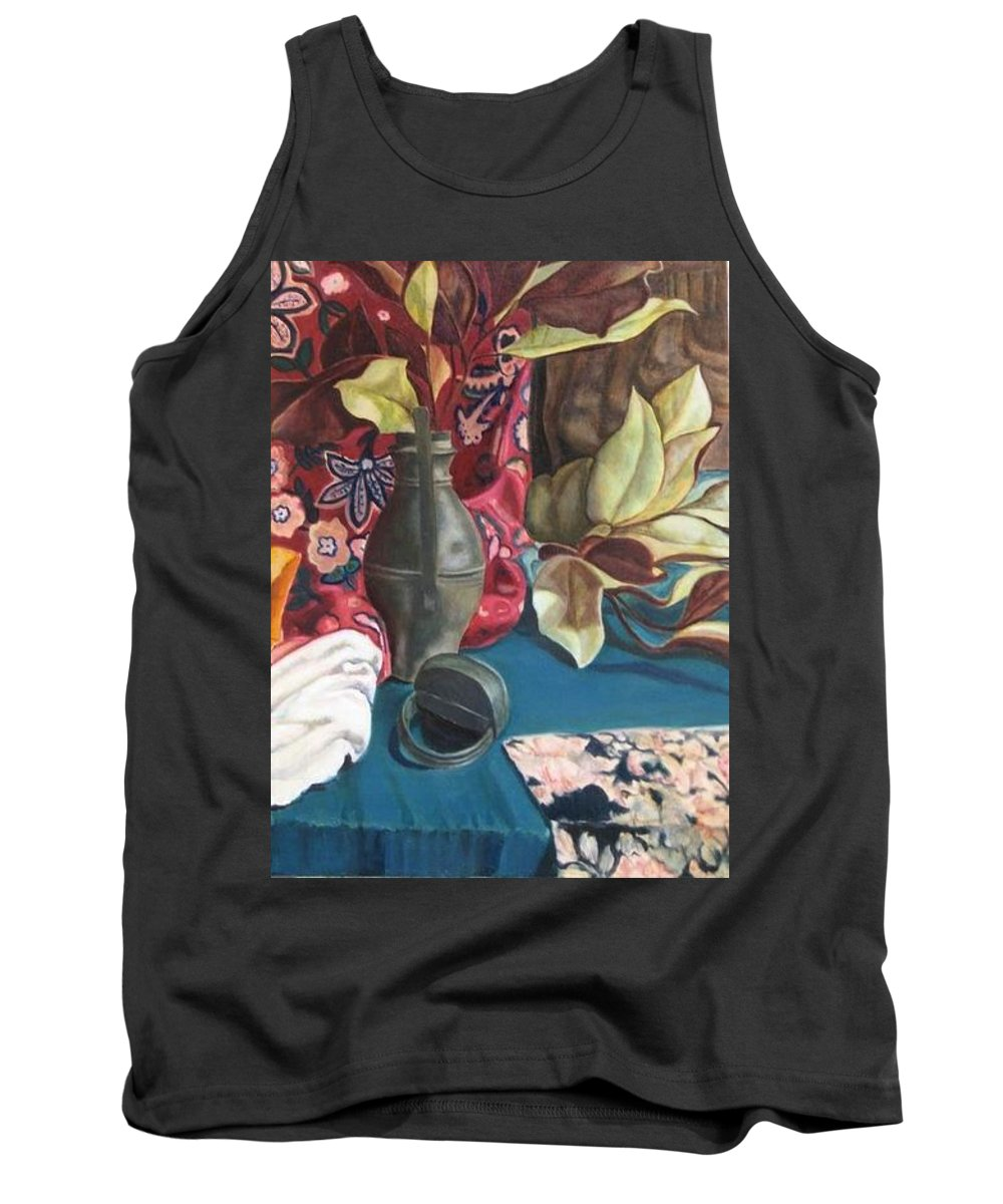 Still-life Tank Top featuring the painting Still-life With Magnolia Leaves by Piety Choi