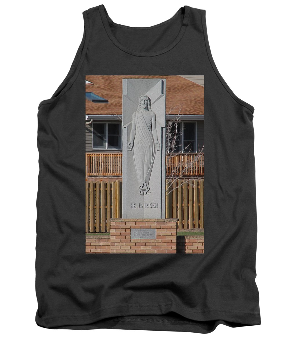 Religious Art Tank Top featuring the photograph Stone Jesus by Wayne Williams
