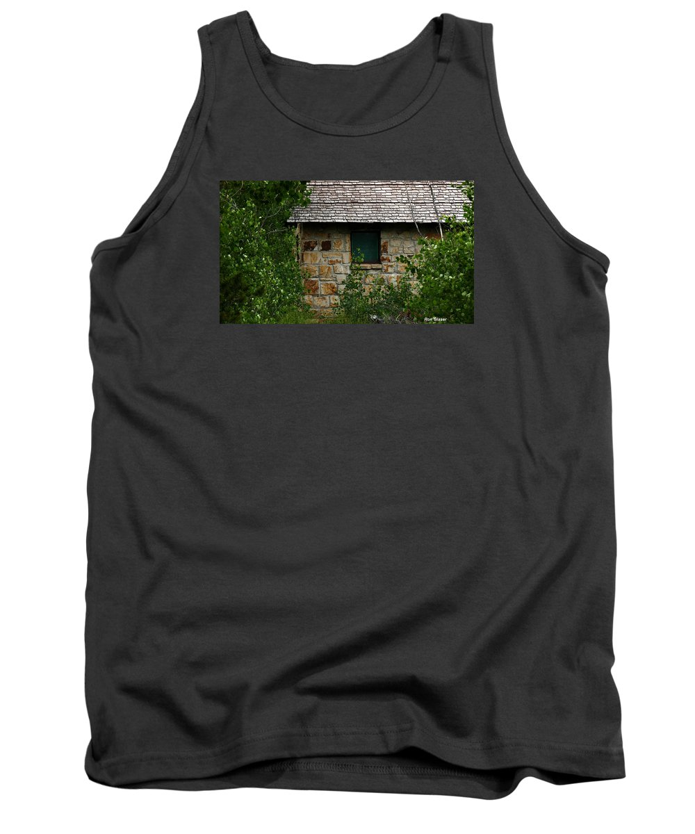 Ron Glaser Tank Top featuring the photograph Stone Outhouse 1 by Ron Glaser