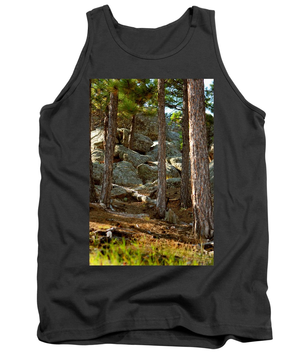 Attraction Tank Top featuring the photograph Stones And Trees by Mike Oistad
