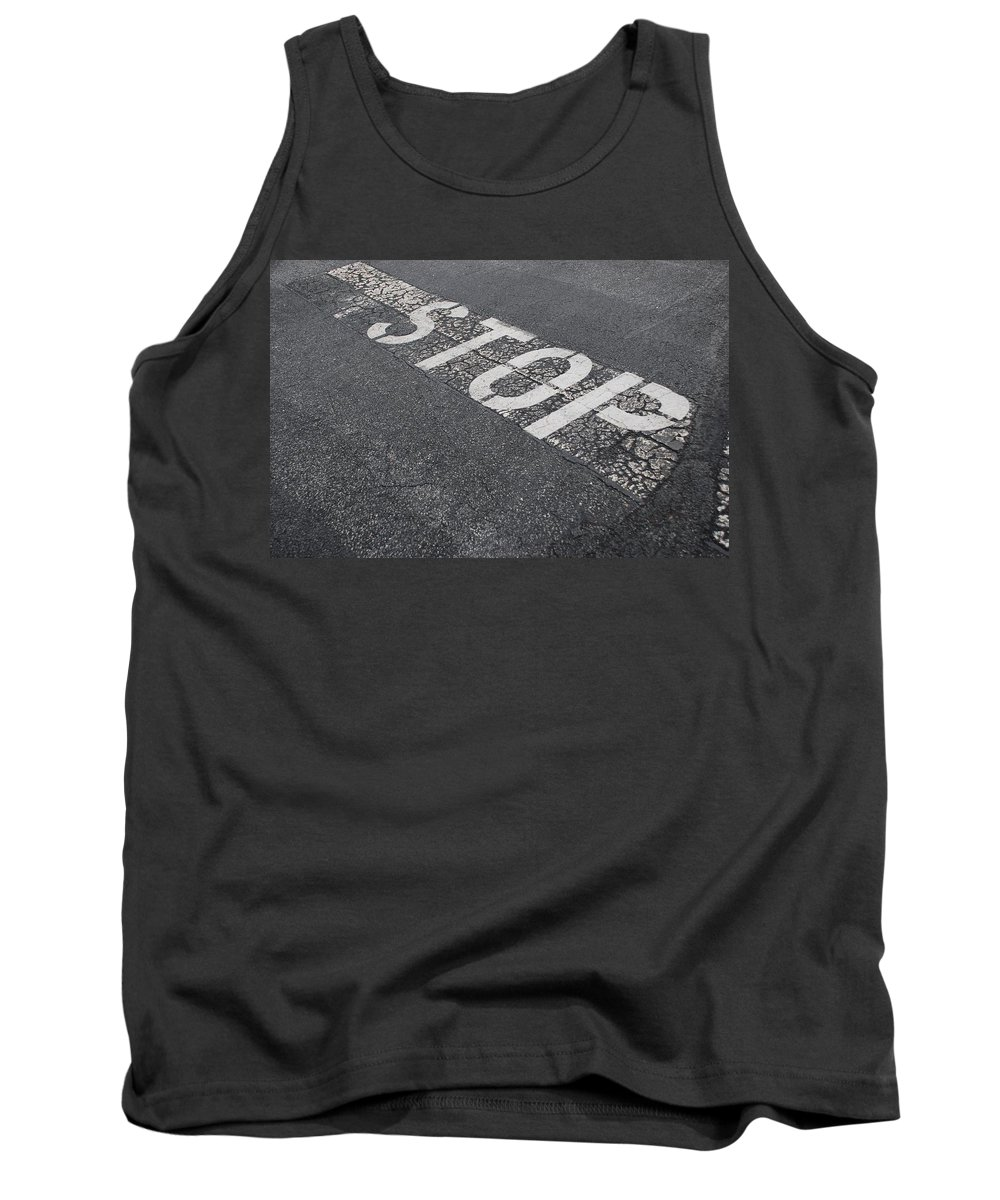 Black And White Tank Top featuring the photograph Stop Sign by Rob Hans