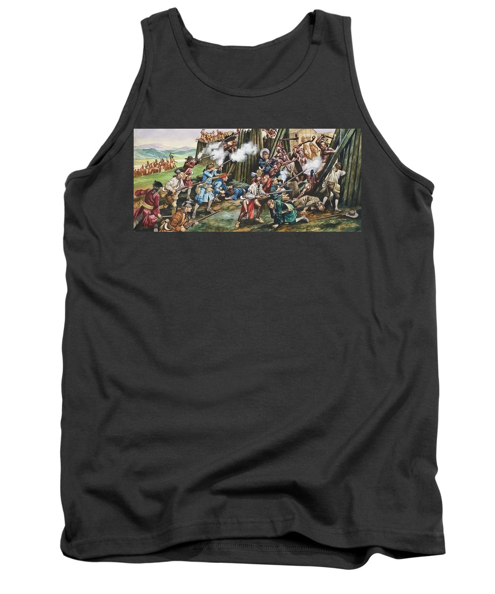 American Indian; Native; Soldier; Gun; Fortress; Axe; Tribe; Troop; Musket; Smoke; Fence; Fighting; Attack; Casualty; North Carolina; Battle; Siege; Revolt; Children's Illustration; Cherokee; Fort Tank Top featuring the painting Storming Of The Fortress Of Neoheroka by Ron Embleton