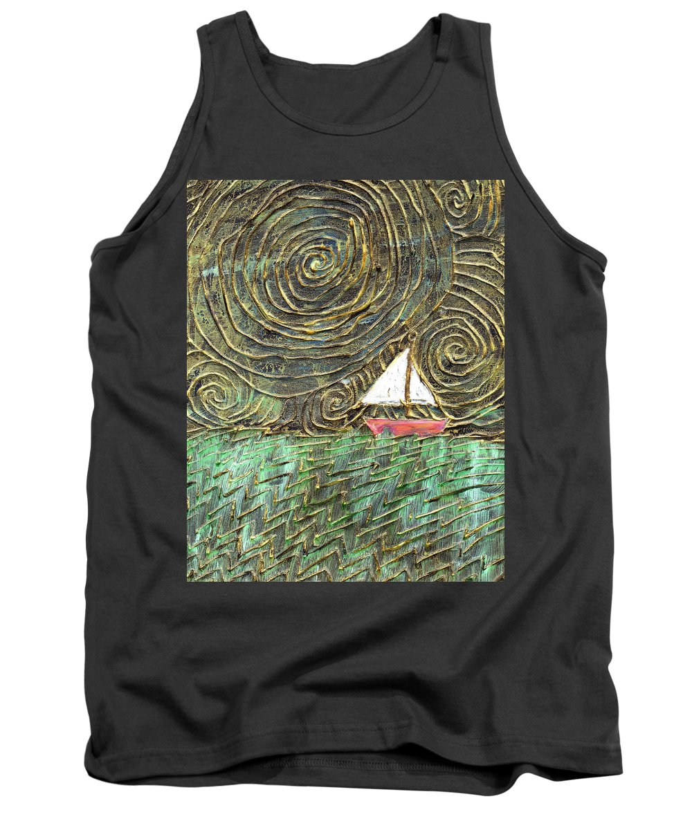 Storm Tank Top featuring the painting Stormy Night by Wayne Potrafka
