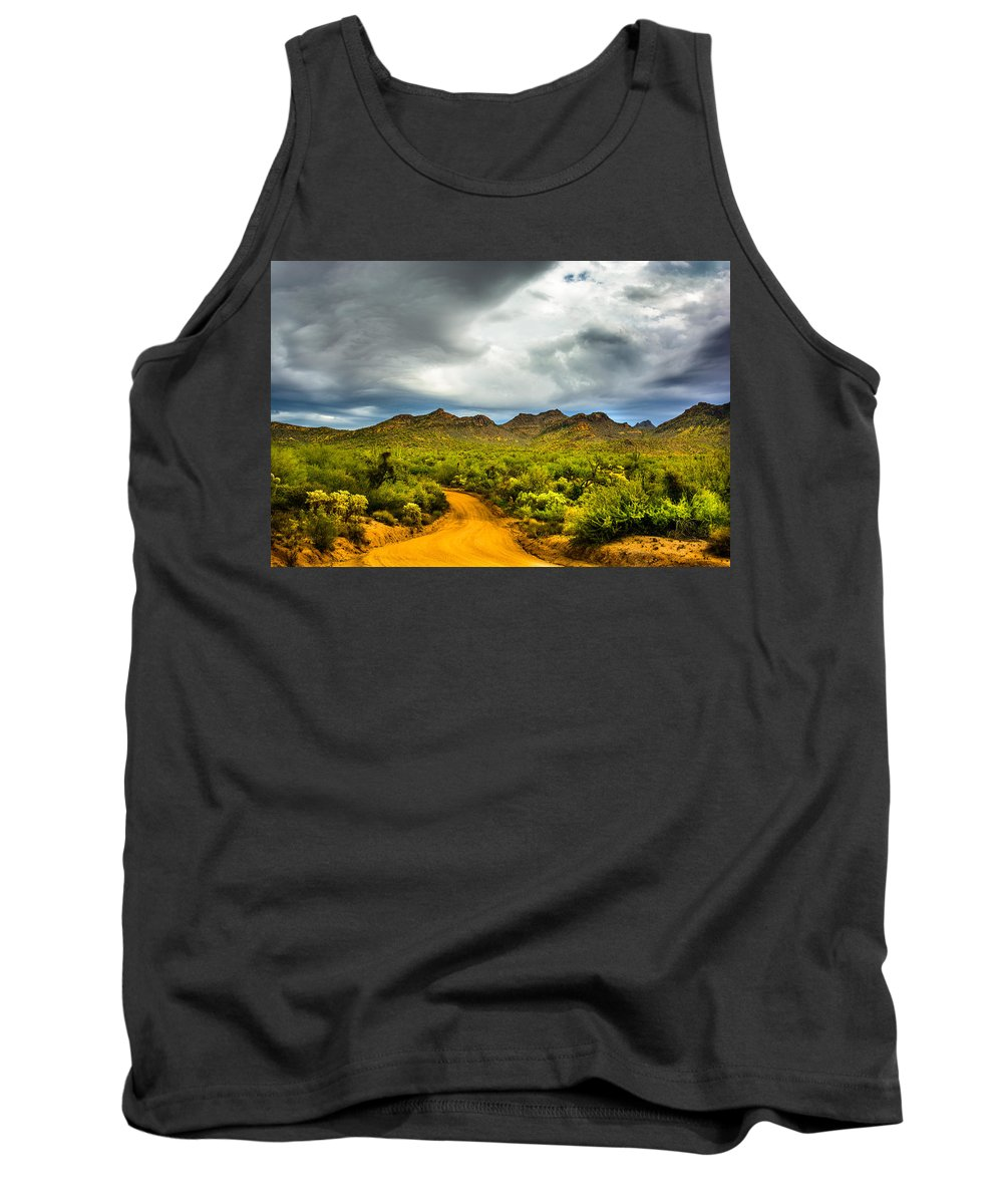 Clouds Tank Top featuring the photograph Stormy Road Home by Daniel Dean