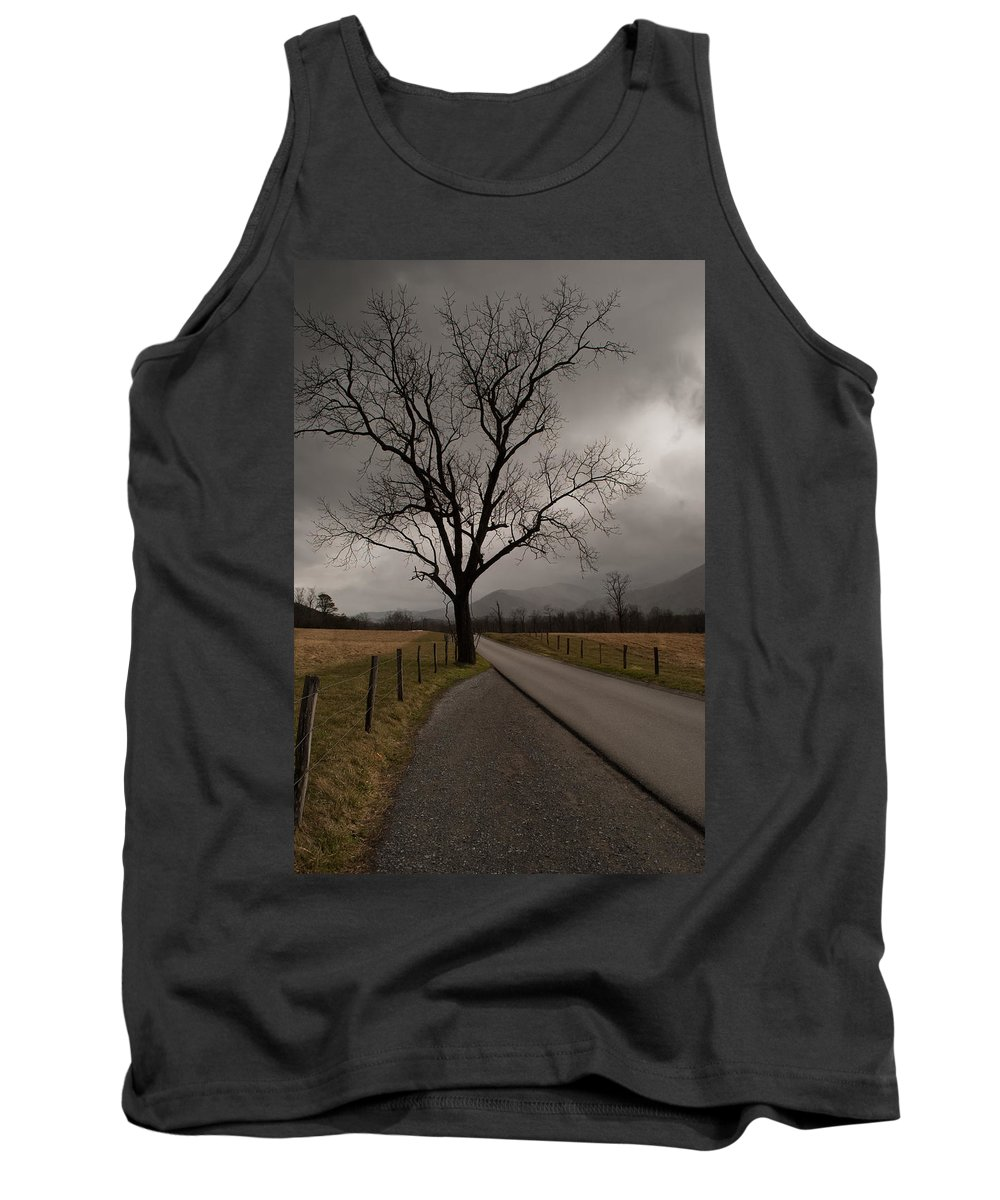 Cades Cove Tank Top featuring the photograph Stormy Roads by Donna Collins