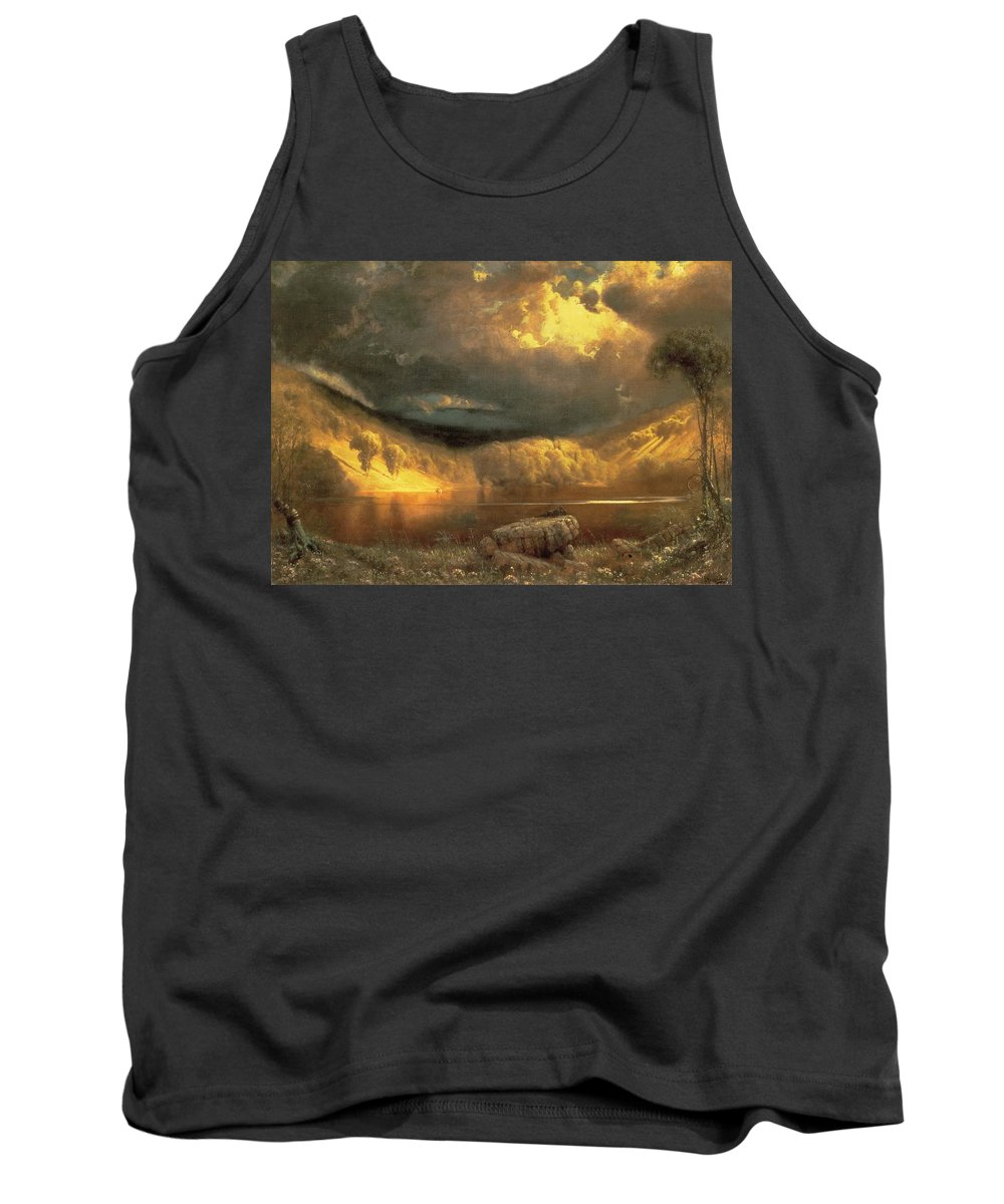 American Landscape; Clouds; Evening; Sunlight; Sunset; California Tank Top featuring the painting Stormy Skies Above Echo Lake White Mountains by Fairman California