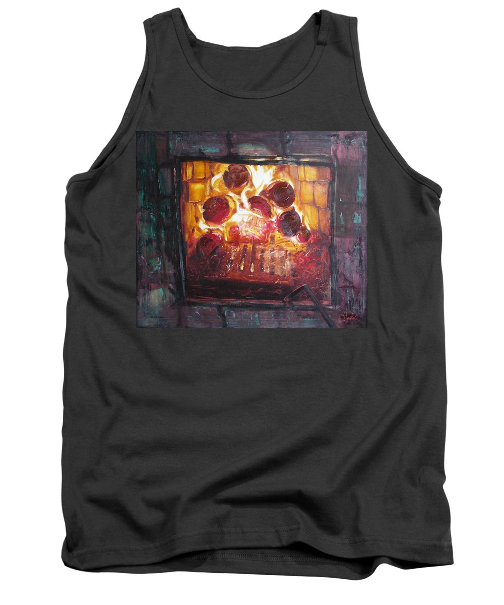 Oil Tank Top featuring the painting Stove by Sergey Ignatenko