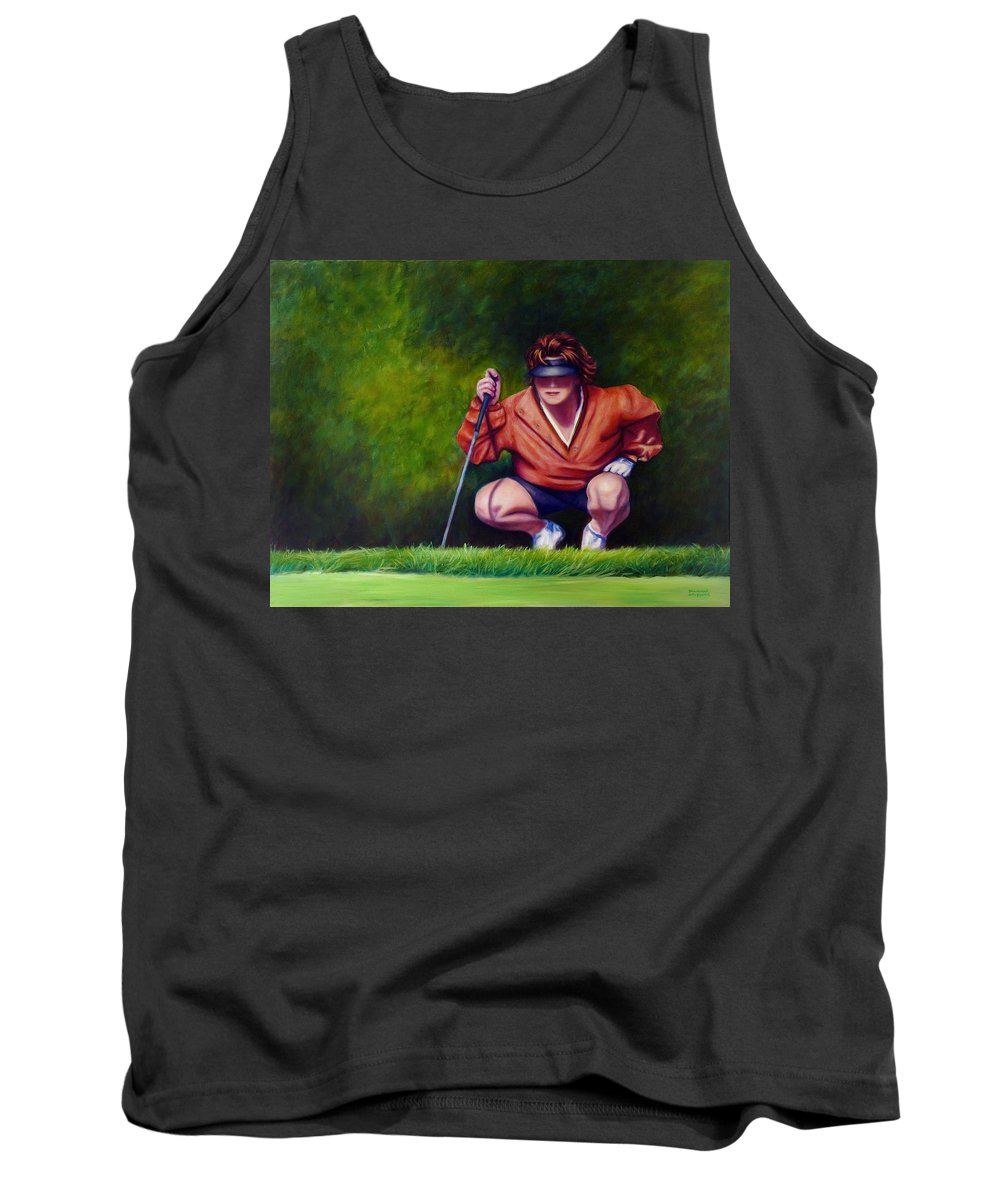 Golfer Tank Top featuring the painting Straightshot by Shannon Grissom