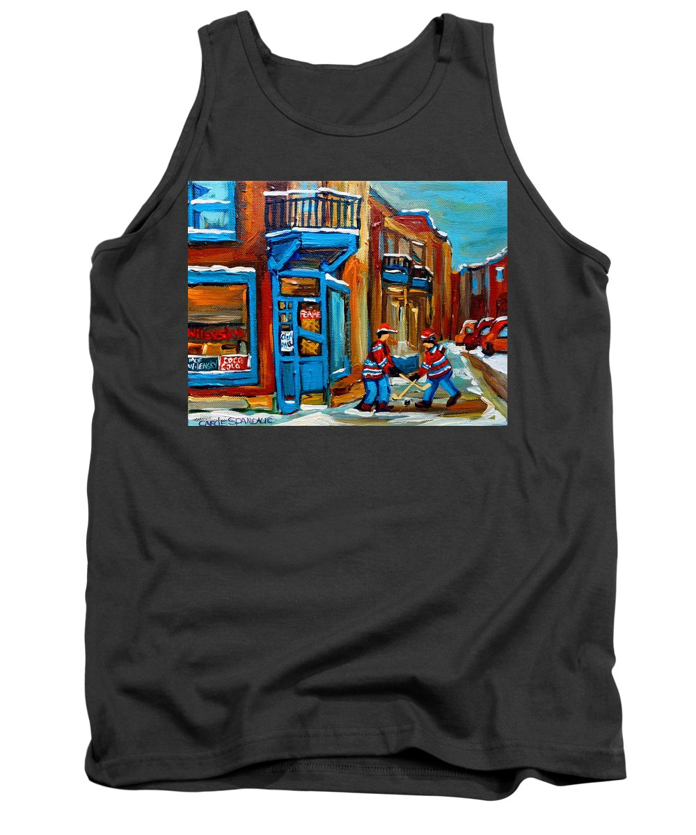 Wilenskys Tank Top featuring the painting Street Hockey At Wilensky's Montreal by Carole Spandau