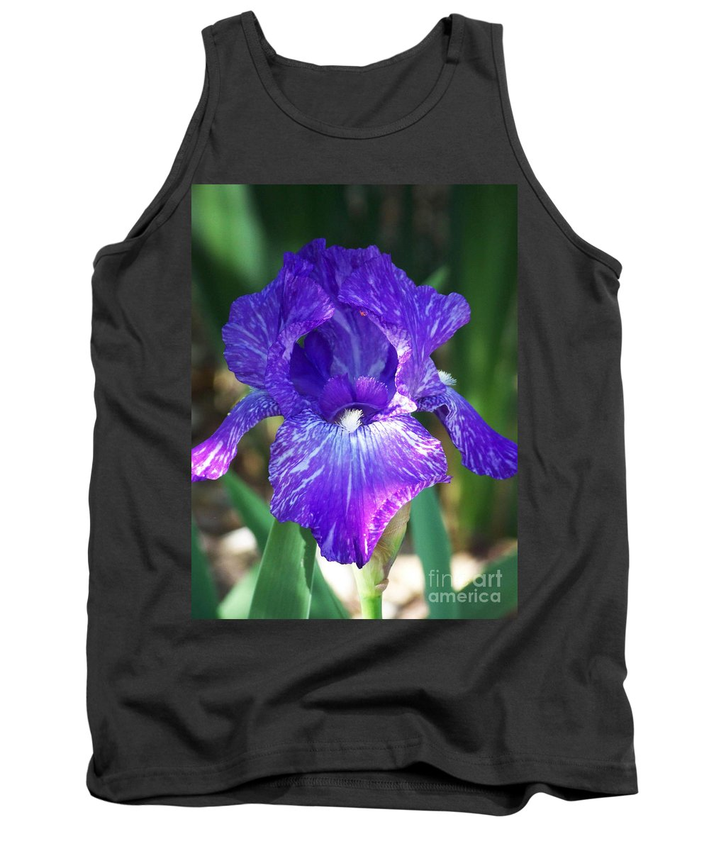 Flowers Tank Top featuring the photograph Striped Blue Iris by Kathy McClure