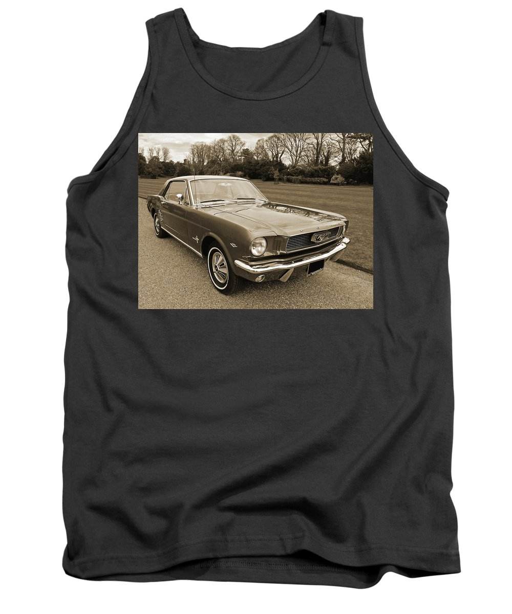 1966 Mustang Tank Top featuring the photograph Stunning '66 Mustang In Sepia by Gill Billington