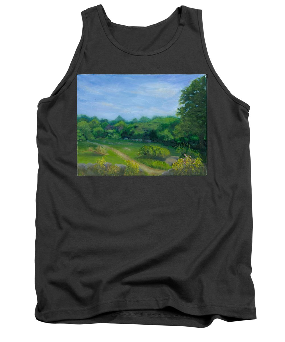 Landscape Tank Top featuring the painting Summer Afternoon At Ashlawn Farm by Paula Emery