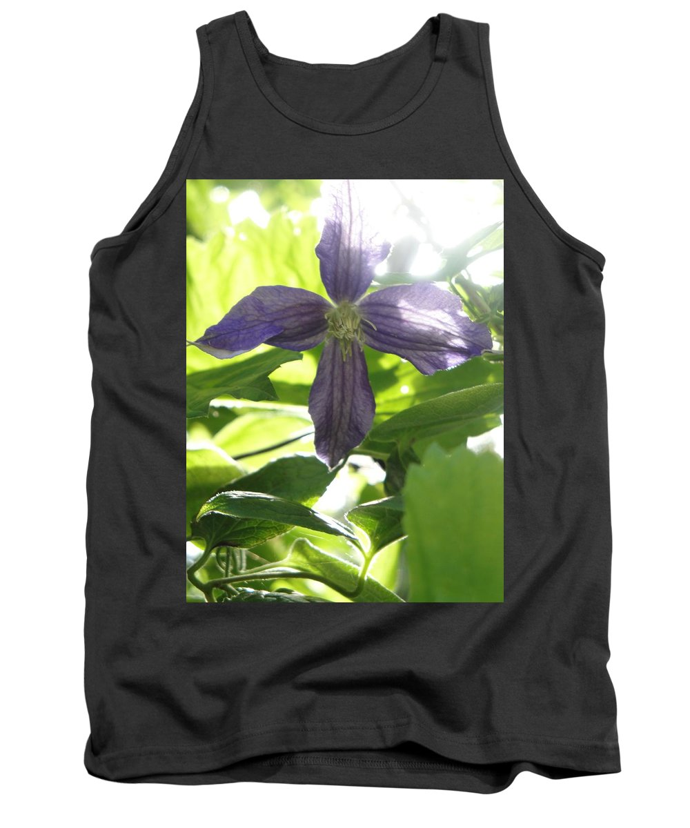 Flora Tank Top featuring the photograph Summer Clematis In Light Shade by Susan Baker