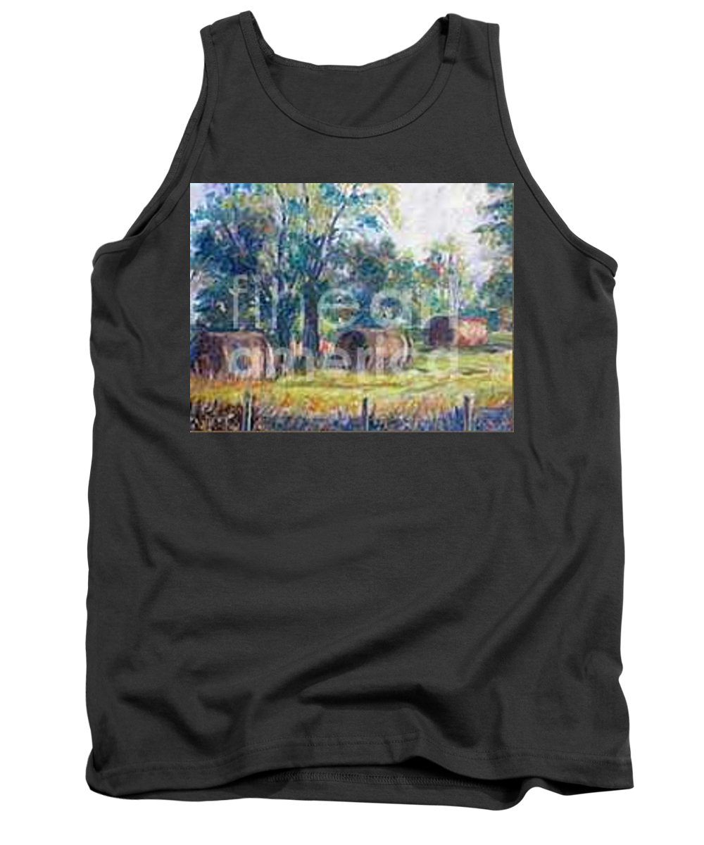 Landscape Tank Top featuring the painting Summer Idyll by Jan Bennicoff
