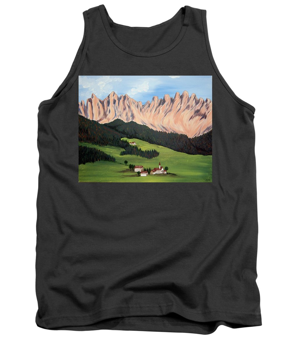 Landscape Tank Top featuring the painting Summer In Switzerland by Marco Morales