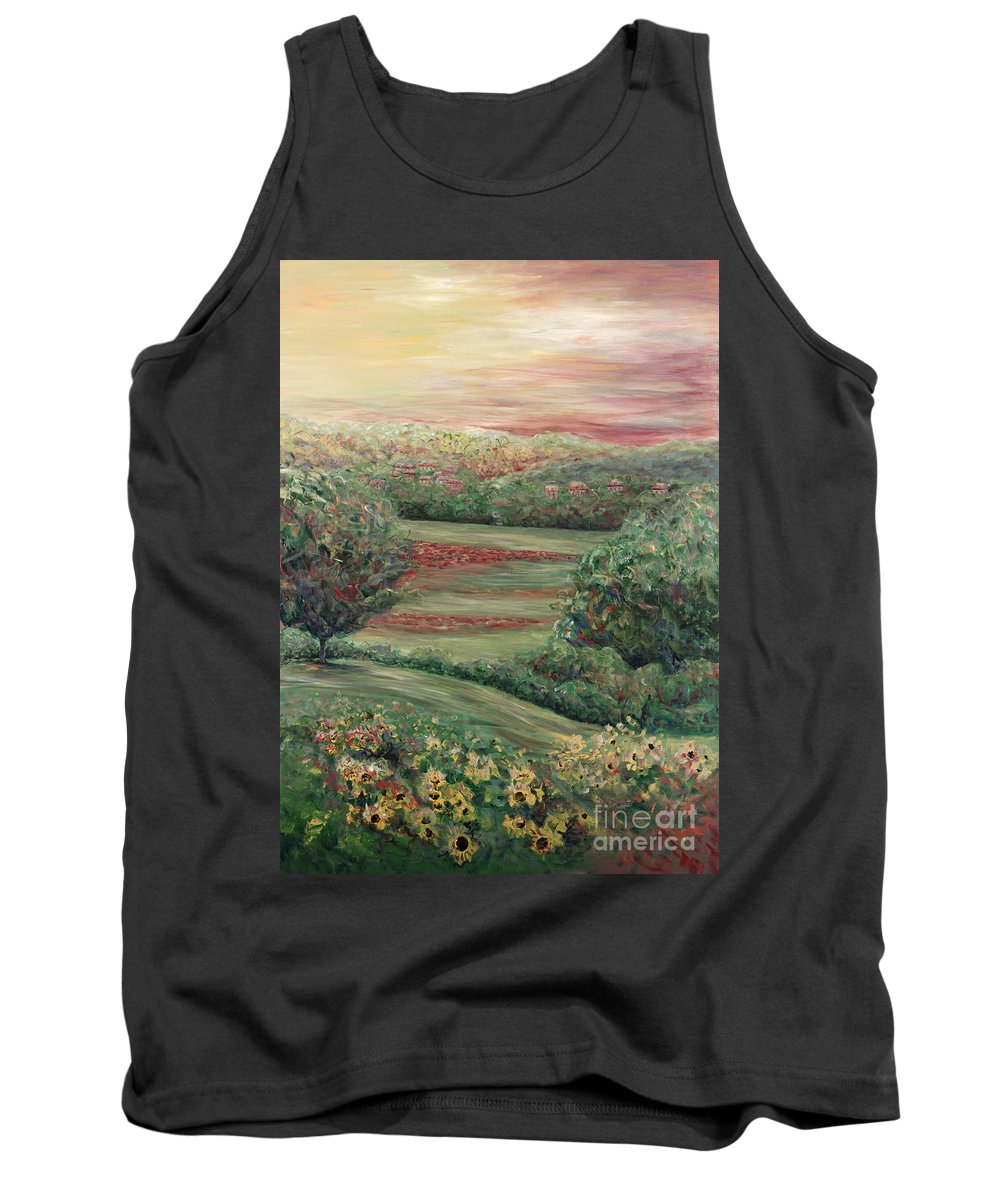 Landscape Tank Top featuring the painting Summer in Tuscany by Nadine Rippelmeyer