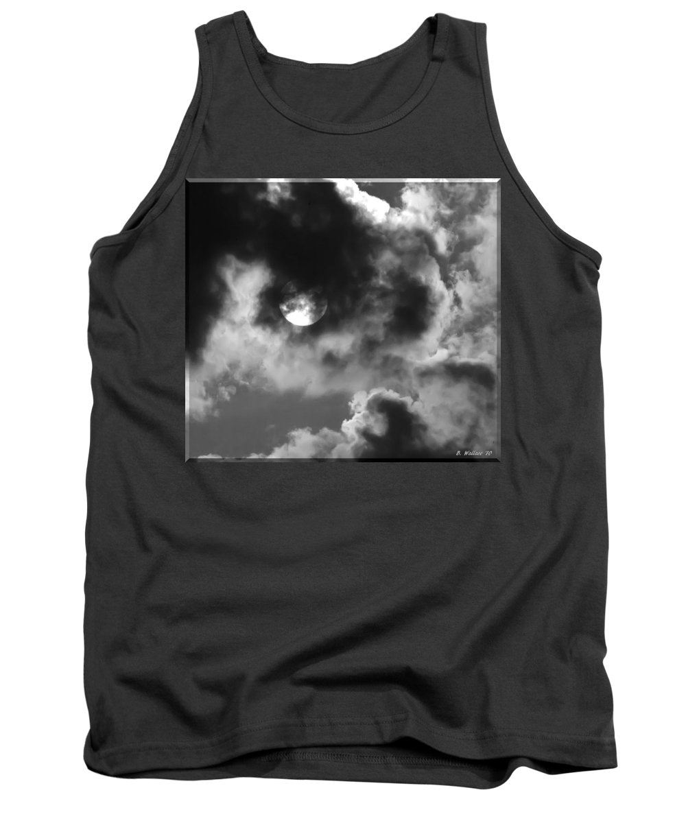 2d Tank Top featuring the photograph Sun And Clouds - Grayscale by Brian Wallace