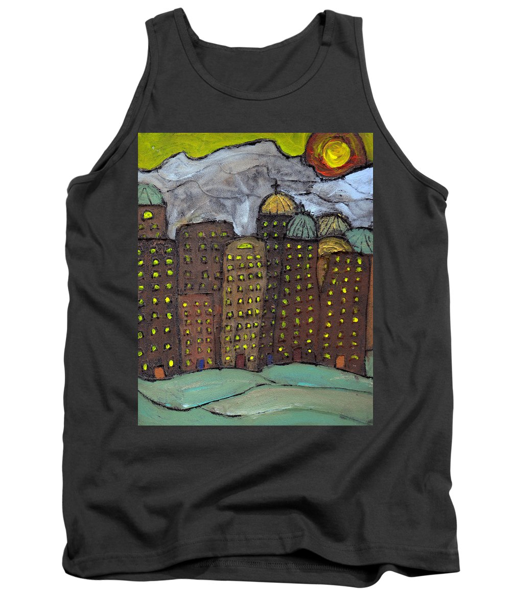Buildings Tank Top featuring the painting Sun Rising On Olde Towne by Wayne Potrafka