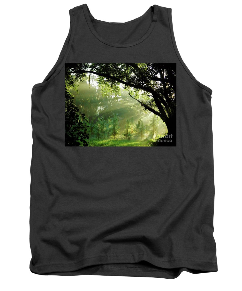 Sunrise Tank Top featuring the photograph Sunbeams In The Forest by D Hackett
