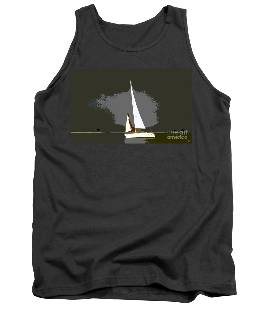 Sailing Tank Top featuring the painting Sunday Sailing by David Lee Thompson