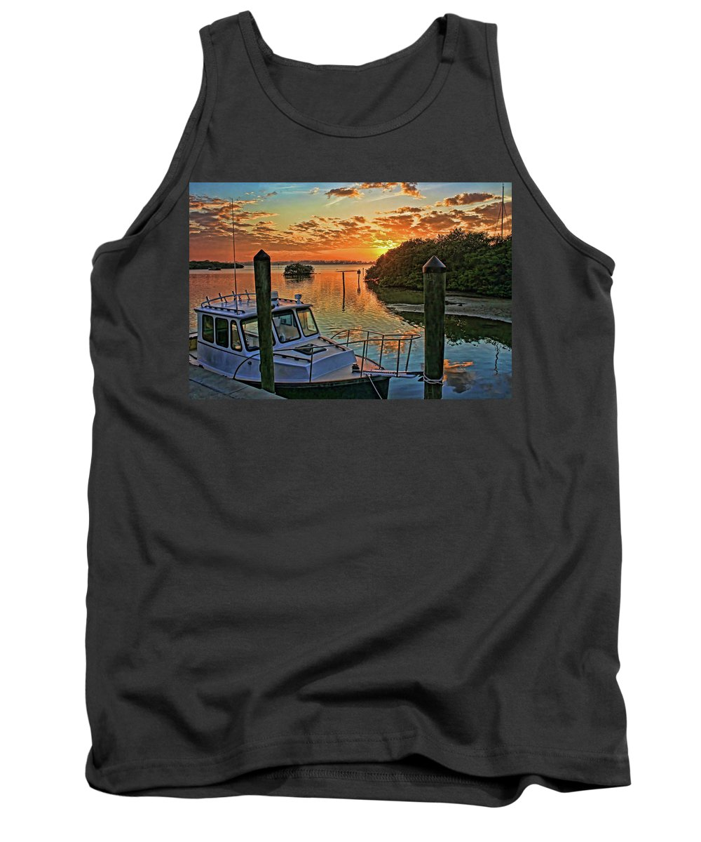 Anna Maria Island Florida Tank Top featuring the photograph Sundown By H H Photography Of Florida by HH Photography of Florida