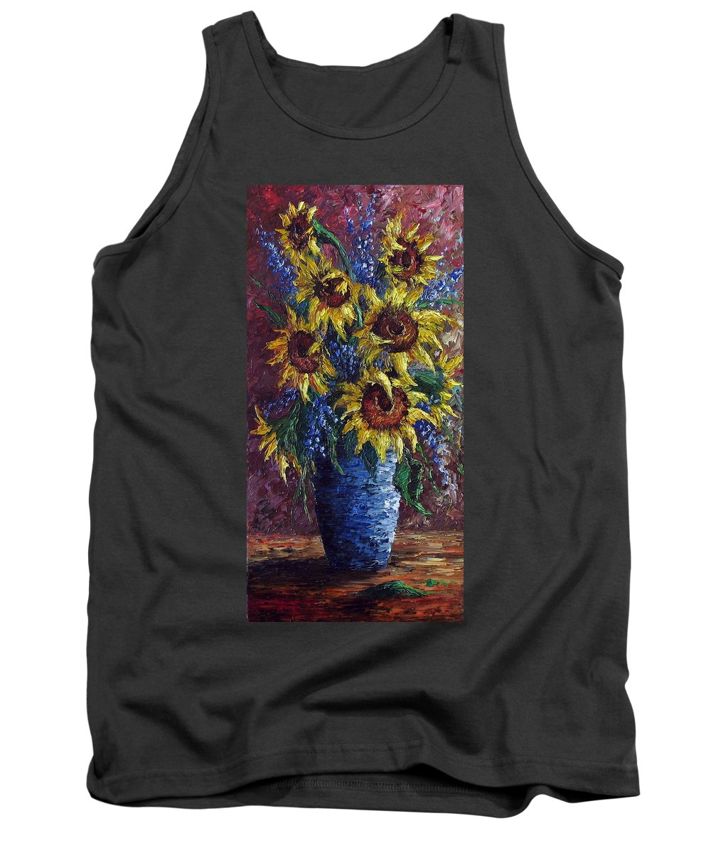 Flowers Tank Top featuring the painting Sunflower Bouquet by David G Paul