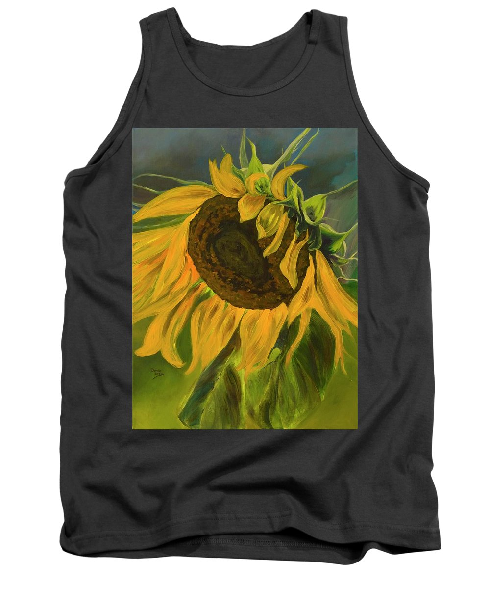 Yellow Flower Tank Top featuring the painting Sunflower by Donna Drake