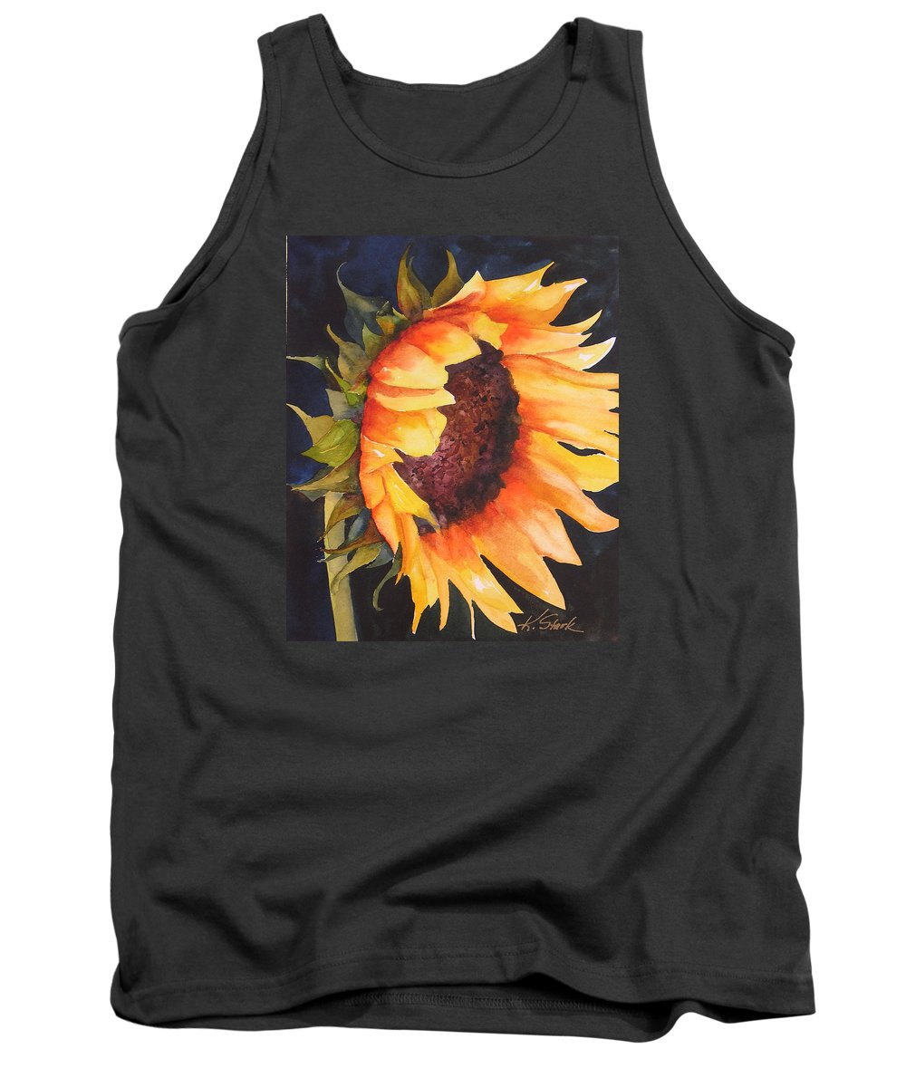 Floral Tank Top featuring the painting Sunflower by Karen Stark