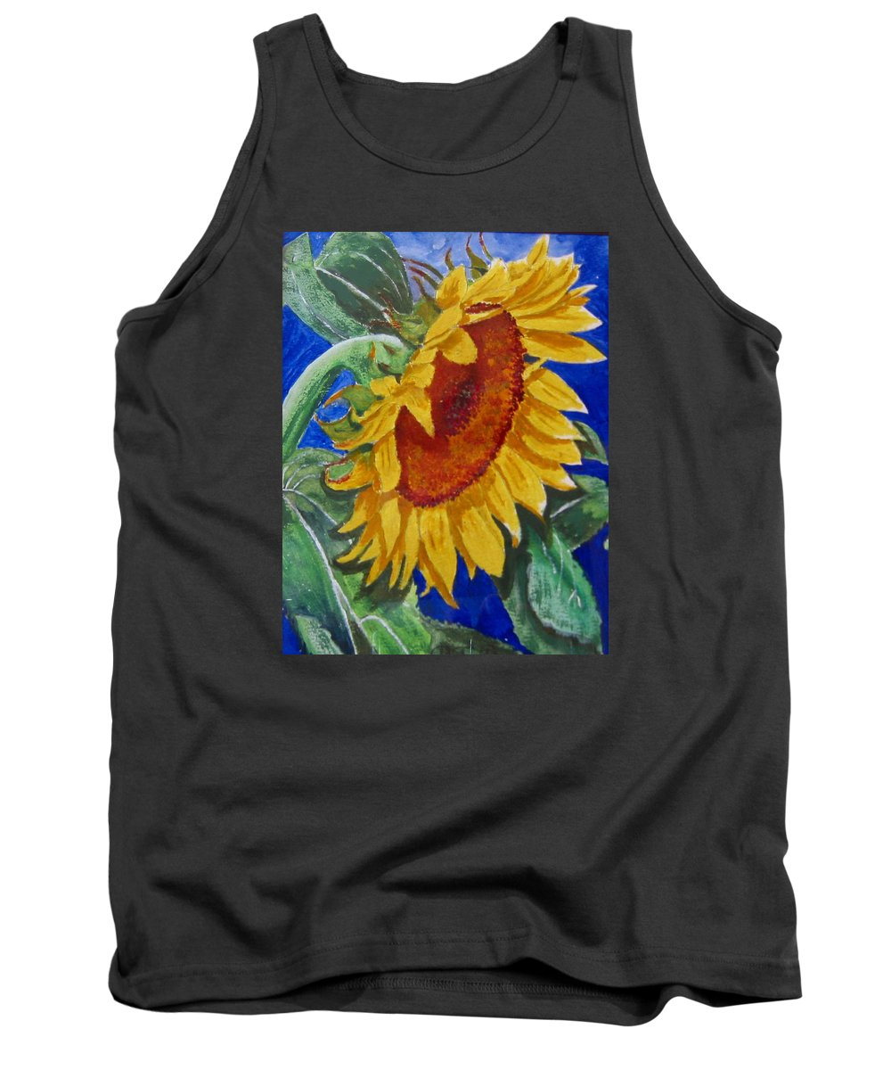 Sunflower Tank Top featuring the painting Sunflower by Richard Le Page