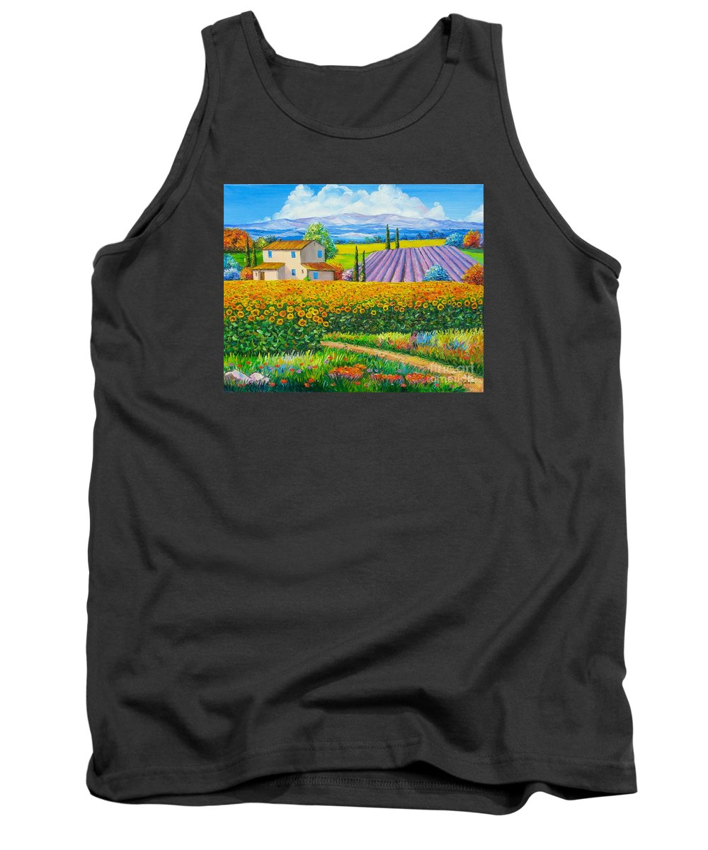 Jean Marc Janiaczyk Tank Top featuring the painting Sunflowers by Elena Yalcin