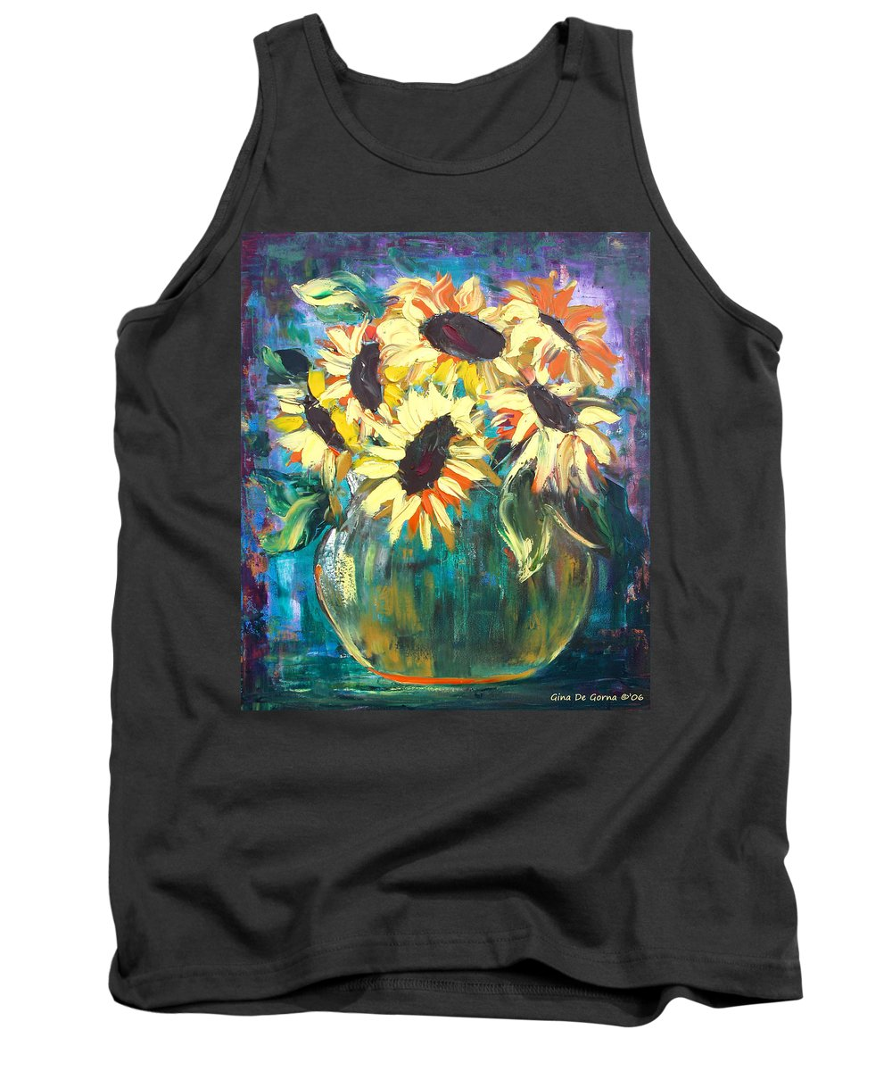 Sunflowers Tank Top featuring the painting Sunflowers by Gina De Gorna