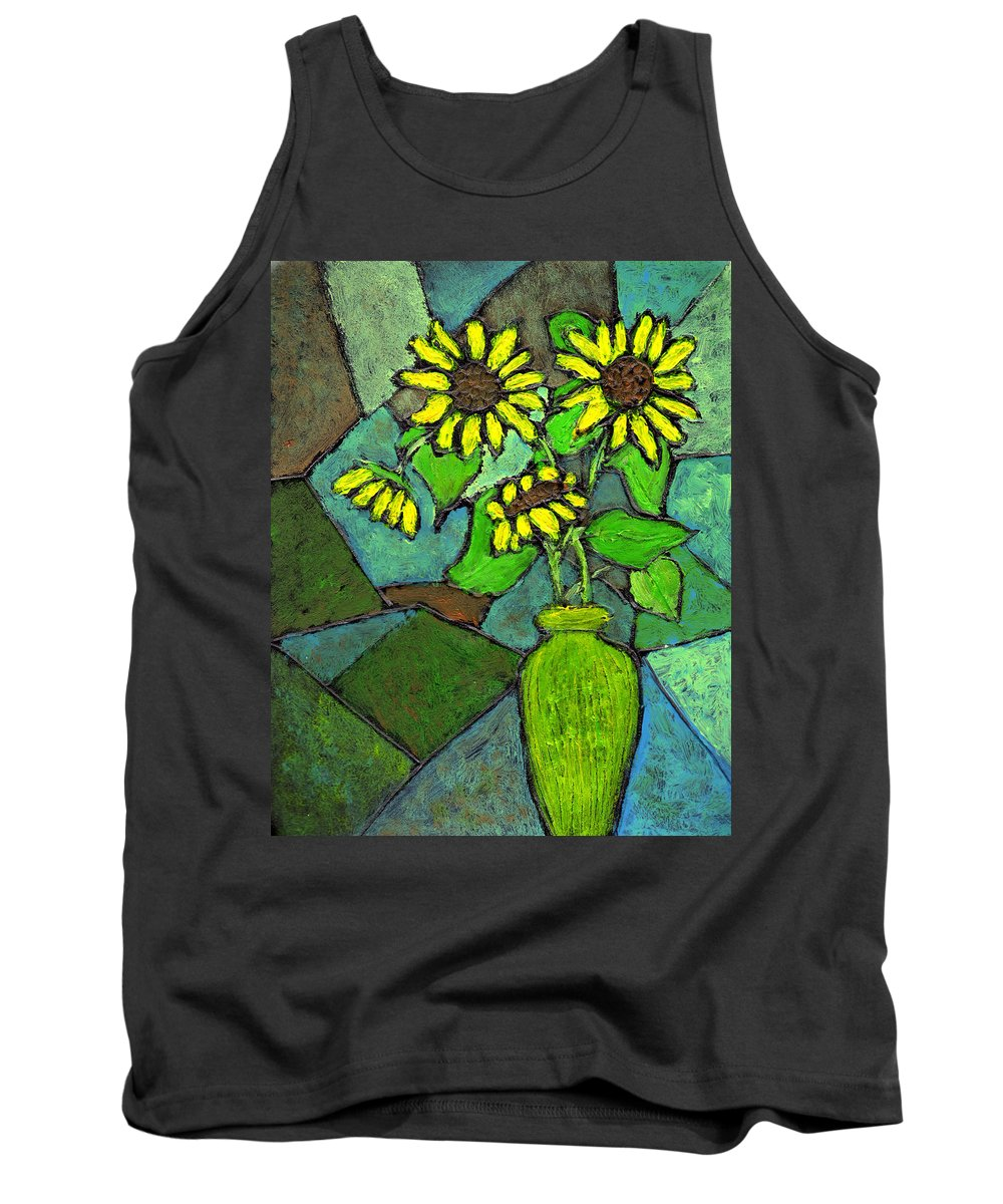 Sunflowers Tank Top featuring the painting Sunflowers In Vase Green by Wayne Potrafka
