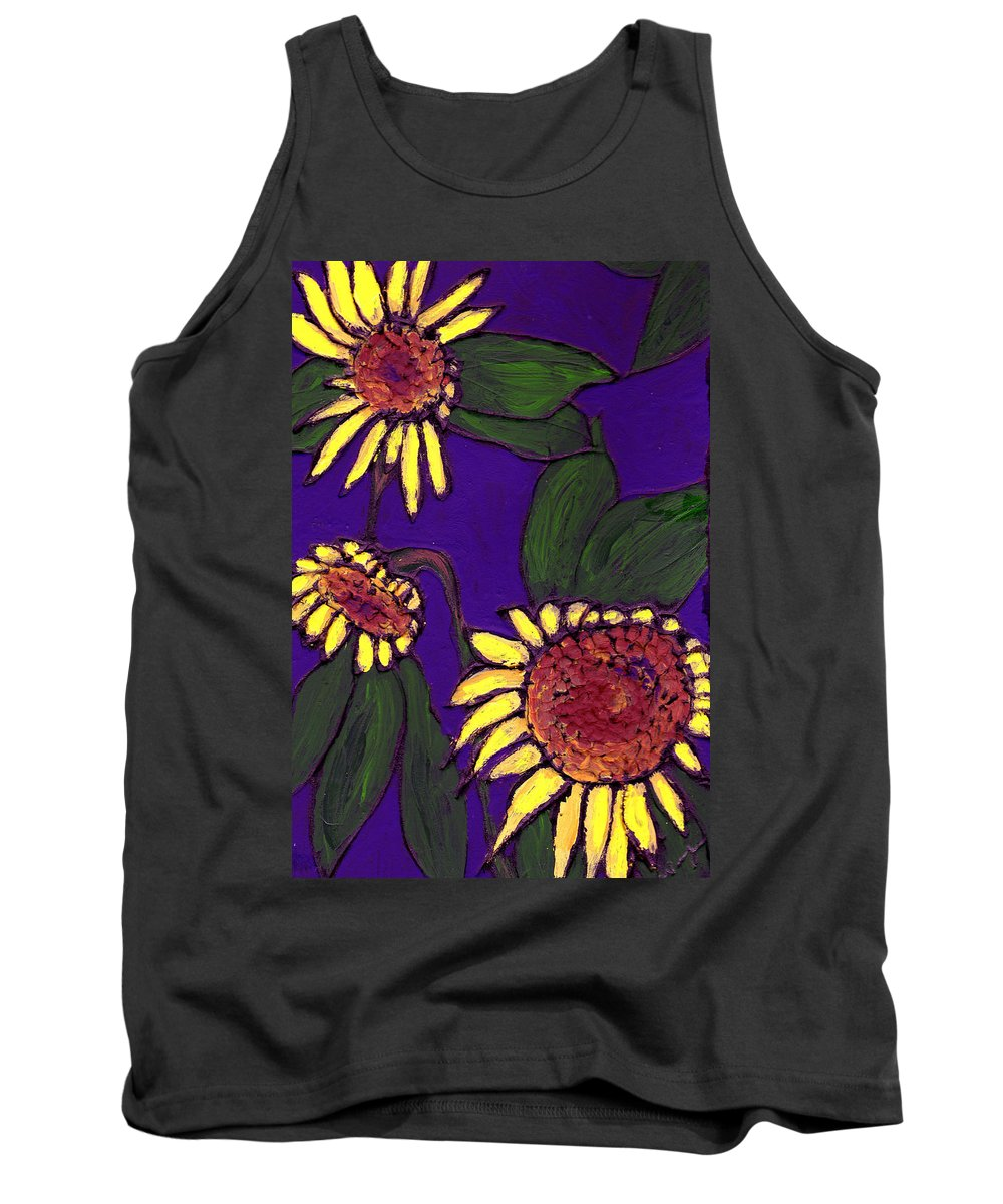 Sunflowers Tank Top featuring the painting Sunflowers On Purple by Wayne Potrafka
