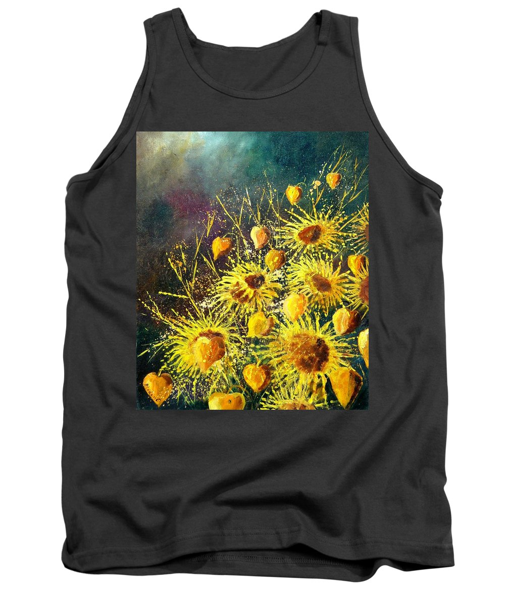 Flowers Tank Top featuring the painting Sunflowers by Pol Ledent