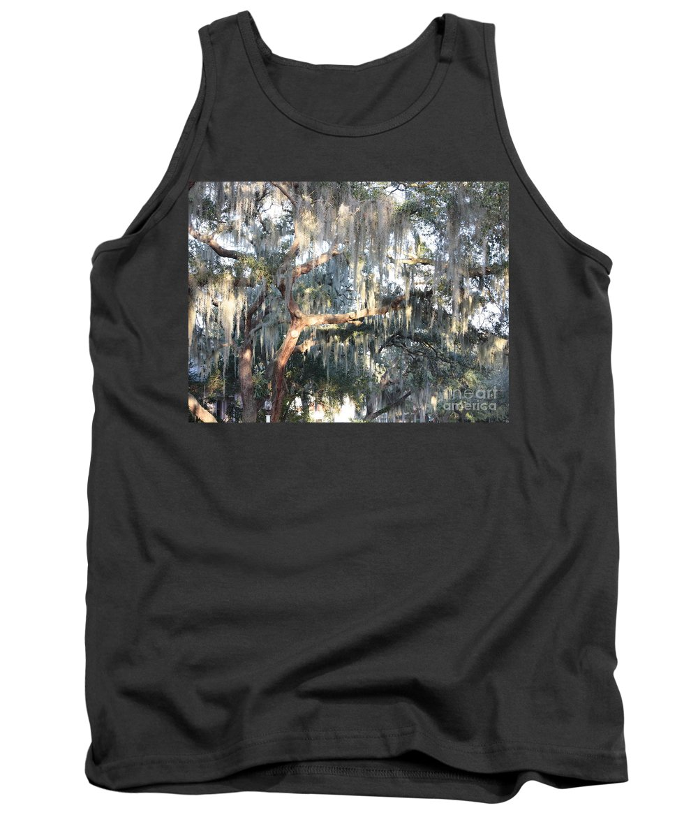 Spanish Moss Tank Top featuring the photograph Sunlight On Mossy Tree by Carol Groenen