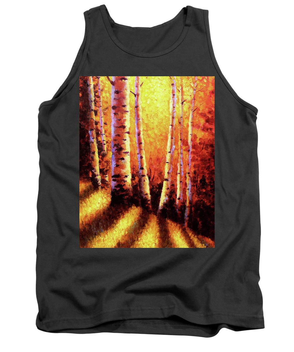 Sunlight Tank Top featuring the painting Sunlight Through The Aspens by David G Paul