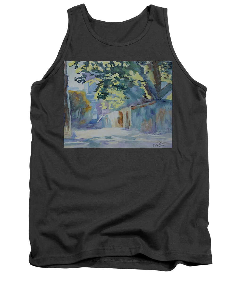 Back Road Tank Top featuring the painting Sunlit Wall Under A Tree by Kathy Przepadlo