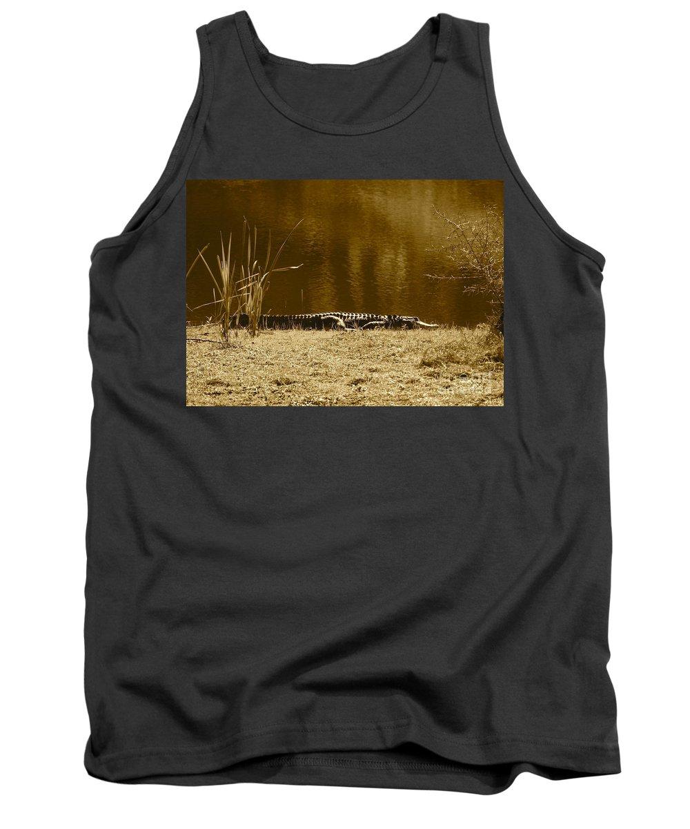 Gator Tank Top featuring the photograph Sunning Gator by Carol Groenen