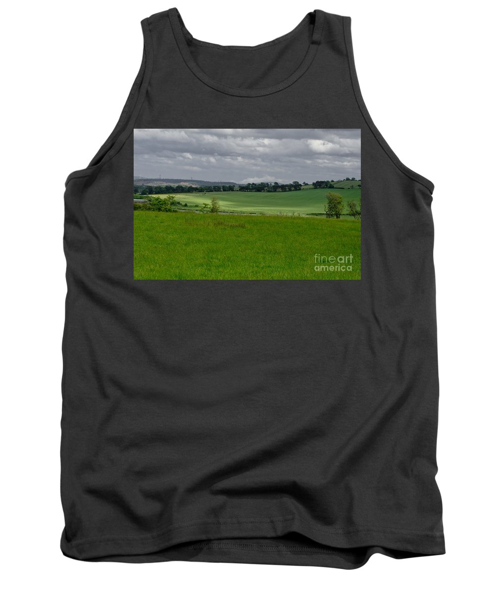 Beecraigs Tank Top featuring the photograph Sunny Patches On The Field. by Elena Perelman