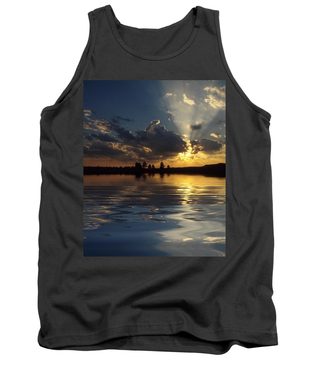 Sunset Tank Top featuring the photograph Sunray Sunset by Jerry McElroy