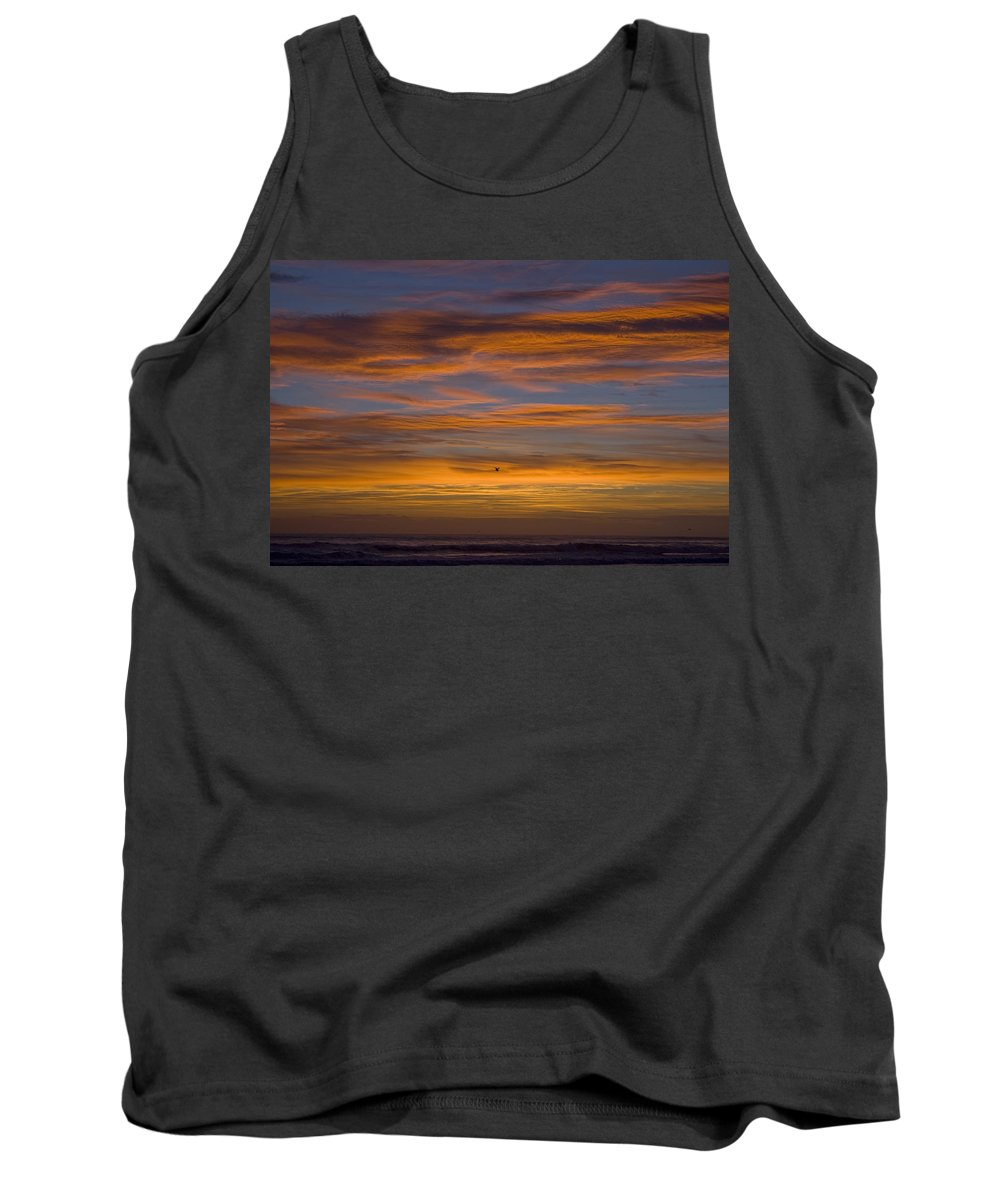 Sun Sunrise Cloud Clouds Morning Early Bright Orange Bird Flight Fly Flying Blue Ocean Water Waves Tank Top featuring the photograph Sunrise by Andrei Shliakhau