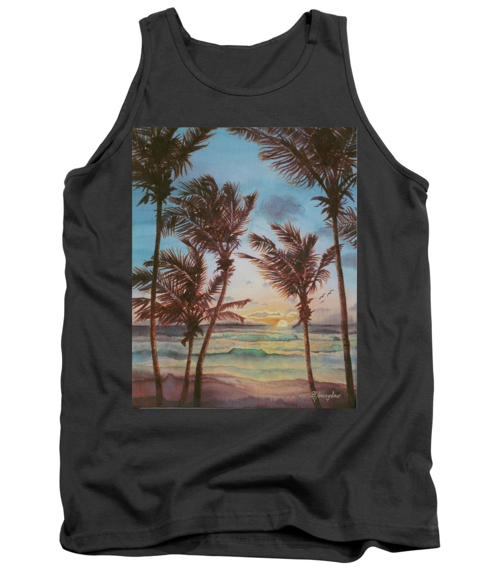Coconut Tree Tank Top featuring the painting Sunrise At Cattlewash 3 by Deborah Younglao
