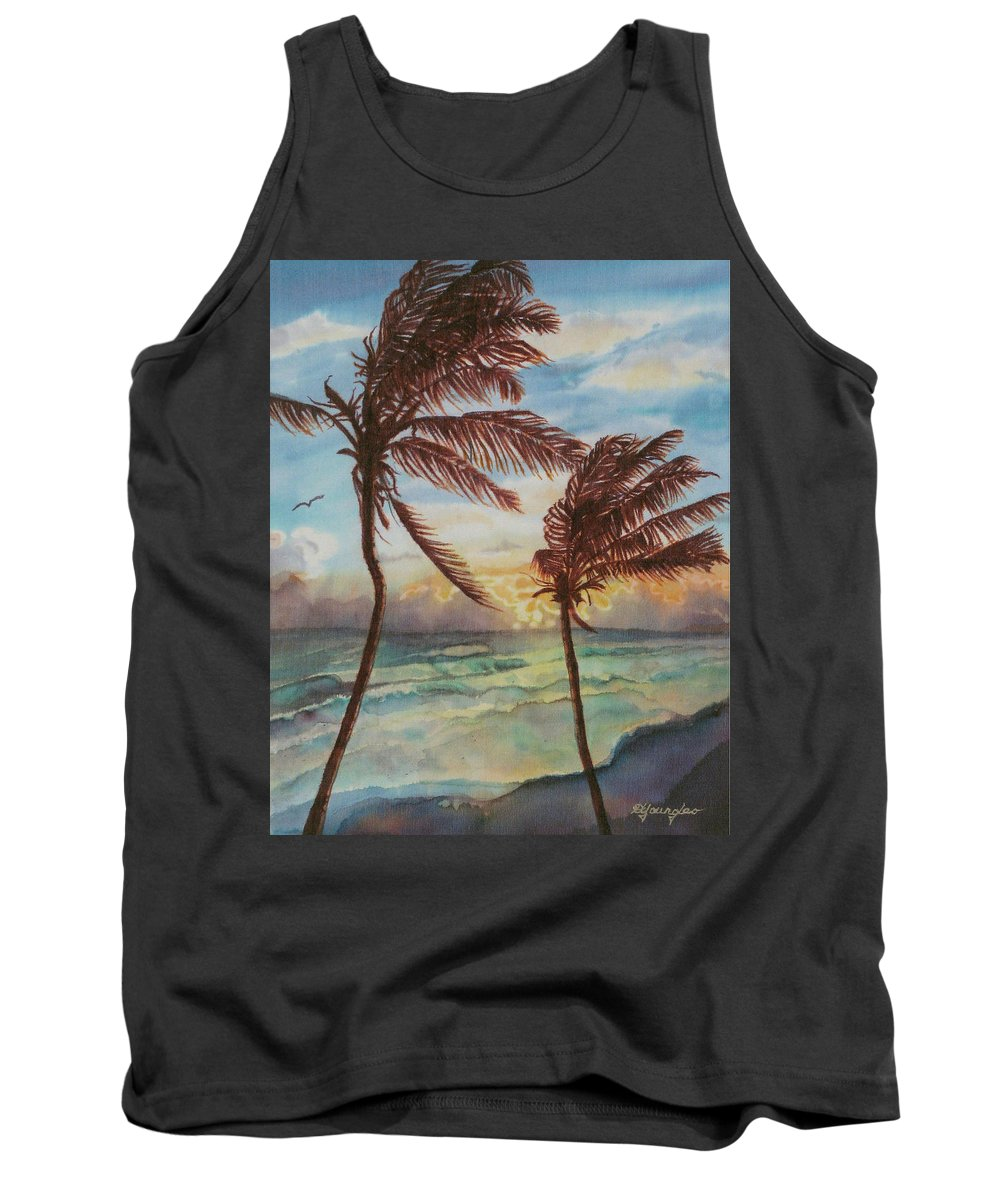 Coconut Tree Tank Top featuring the painting Sunrise At Cattlewash 4 by Deborah Younglao