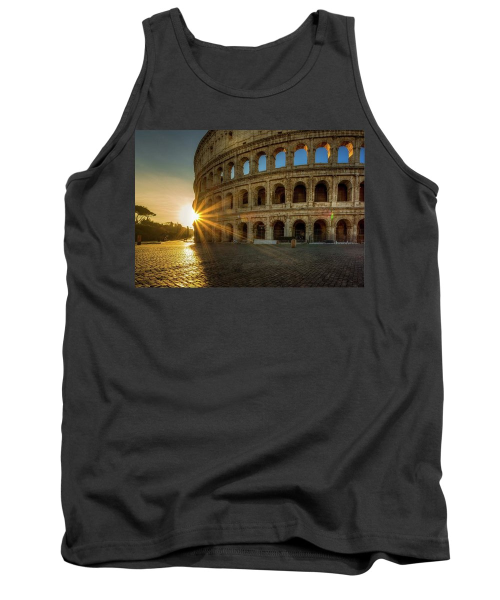 Cityscape Tank Top featuring the photograph Sunrise At The Colosseum by Mike Houghton BlueMaxPhotography